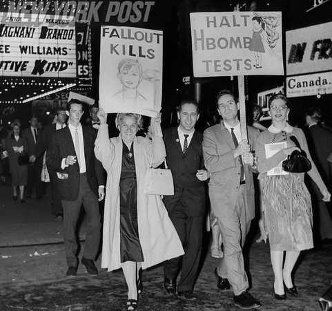 Citizens of New York City protest the testing of the H Bomb. 1960