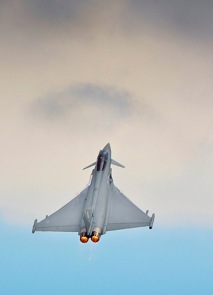 A Royal Air Force Typhoon performing an air display at RAF Coningsby.<br /> <br /> Typhoon provides the RAF with a multi-role combat aircraft, capable of being deployed in the full spectrum of air operations, from air policing, to peace support, through to high intensity conflict. It is currently employed on permanent ops in the Falkland Islands, UK QRA North and UK QRA South.<br /> <br /> <br /> , A Royal Air Force Typhoon performing an air display at RAF Coningsby.<br /> <br /> Typhoon provides the RAF with a multi-role combat aircraft, capable of being deployed in the full spectrum of air operations, from air policing, to peace support, through to high intensity conflict. It is currently employed on permanent ops in the Falkland Islands, UK QRA North and UK QRA South.<br /> <br /> <br /> , Date: 14/05/2012<br /> Image shows: Typhoon and GR4 display teams perform as part of their public display authority (PDA) at RAF Coningsby.<br /> <br /> This image has been cleared by the MCO.<br /> For further information, please contact:<br /> Mr Jim Robinson<br /> Media