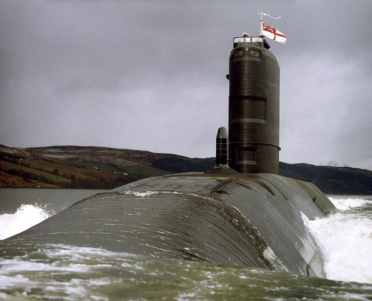 Swiftsure class submarine HMS Splendid is pictured off Scotland in 1995.