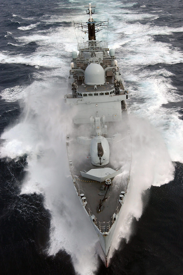 HMS Nottingham braves rough Atlantic seas during a high seas firing exercise.  She is pictured here, some 200 miles west of Ireland.