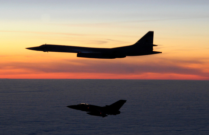 A Russian TU-160 Blackjack aircraft is escorted by a Tornado F3.<br /> <br /> On 10th March 2010, two RAF Tornado F3 fighter aircraft of 111(Fighter) Squadron were scrambled from RAF Leuchars (Fife) in the early hours of the morning to intercept two Russian TU-160 Blackjack aircraft, which were approx 100nm to the west of Stornaway on the North-West coast of Scotland.  <br /> <br /> The Tornadoes shadowed the Russian aircraft as they progressed south before the Blackjacks turned north, short of the Northern Irish coast, exiting UK airspace.  <br /> <br /> RAF Leuchars fighters have successfully scrambled to intercept  Russian aircraft on more than 20 occasions since the start of 2009. The Tornado F3 is planned to go out of RAF Service in 2011; RAF Leuchars will become the RAF's second Typhoon fighter base later this year.