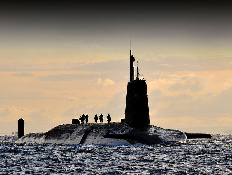 Nuclear submarine HMS Vanguard arrives back at HM Naval Base Clyde, Faslane, Scotland following a patrol.
