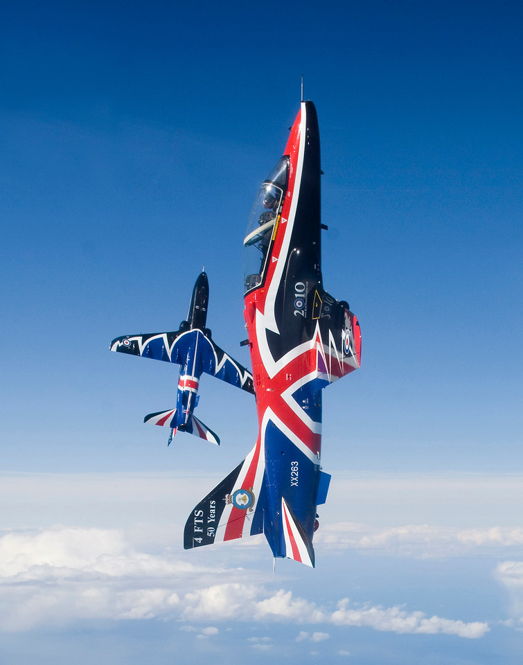 Two aerobatic Hawk T1 jet aircraft are pictured in the livery for the 2010 display season.<br /> <br /> The jets belong to 208 Squadron, Royal Air Force and are based at RAF Valley on the Isle of Anglesey, Wales.