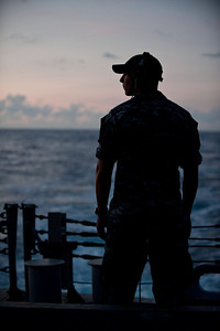 100709-N-0260R-082  PEARL HARBOR, Hawaii (July 9, 2010) - Seaman Giosue Lobue stands aft lookout watch aboard USS McClusky (FFG 41) while underway for Rim of the Pacific (RIMPAC) 2010.  RIMPAC is a biennial international military exercise involving naval units from 14 countries and is designed to strengthen regional partnerships and improve multinational interoperability.  This year marks the 22nd occurrence of the exercise   U.S. Navy Photo by Mass Communication Specialist 1st Class Brandon Raile.  (RELEASED)