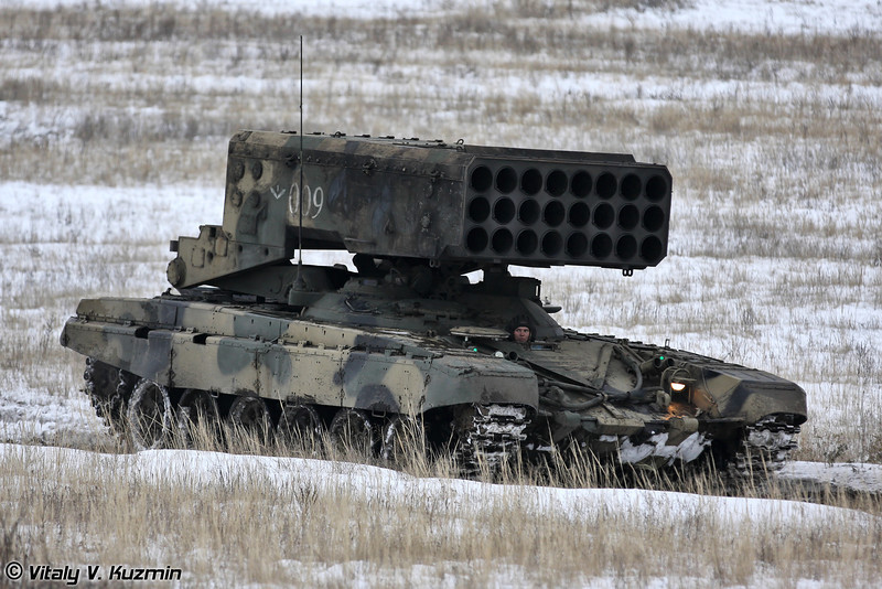 Боевая машина БМ-1 из состава тяжелой огнеметной системы залпового огня ТОС-1А (Combat vehicle BM-1 from TOS-1A heavy flamethrower system)
