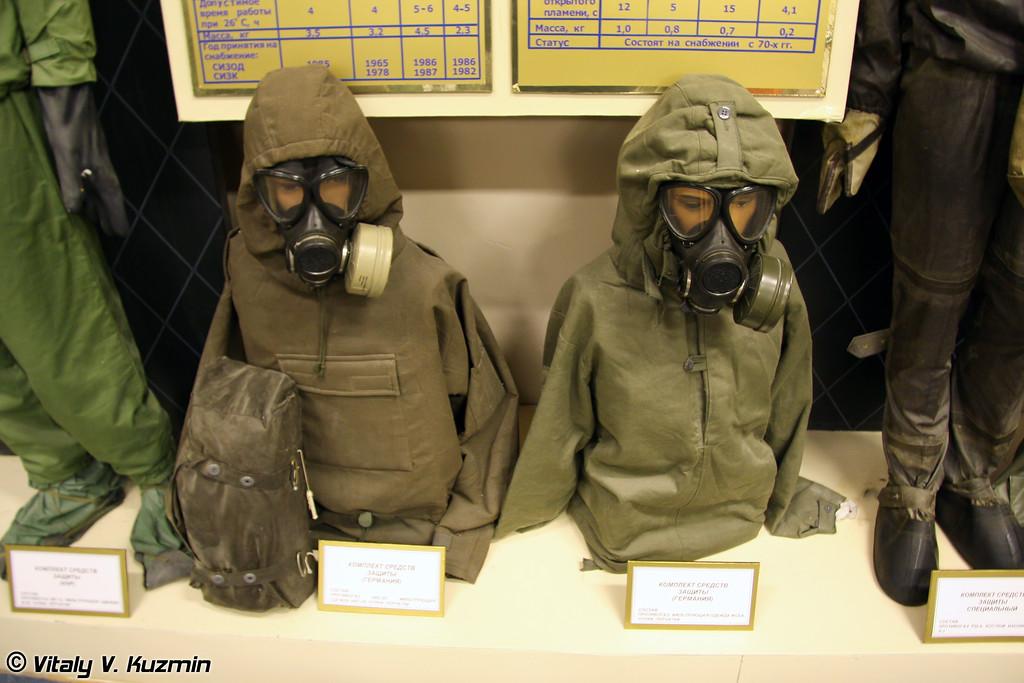 В институте активно изучают опыт зарубежных стран в области рХБ защиты. В музее много иностранных экспонатов. В данном случае немецкие комплекты средств защиты. (German protective suits)
