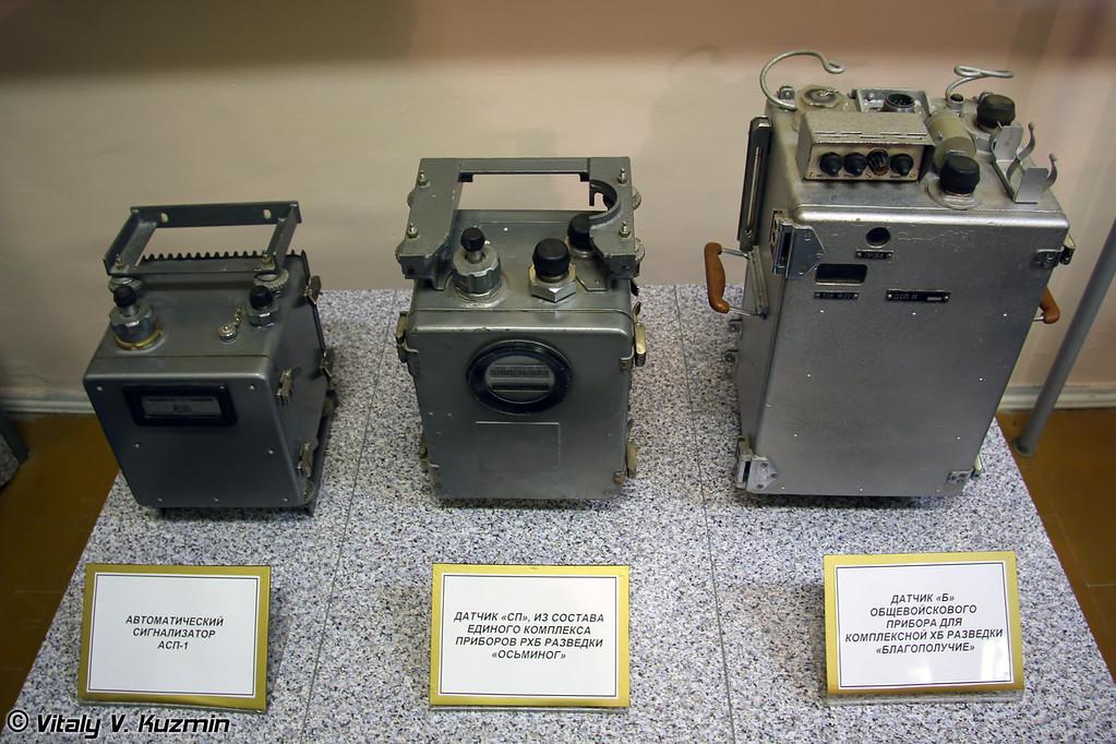 Автоматический сигнализатор АСП-1, датчик из состава комплекса приборов РХБ разведки Осьминог, датчик общевойскового прибора ХБ разведки Благополучие (Automatic indicator ASP-1, sensor from Osminog NBC reconnaissance device, sensor from Blagopoluchie NBC reconnaissance device)