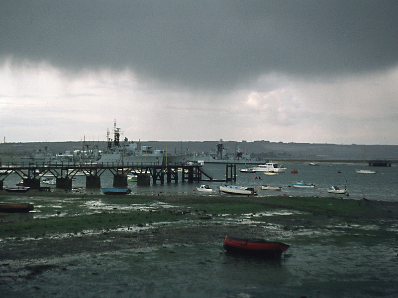 The Harbour Training Ships, Priddy's Hard, Gosport. (Dundas, Diana, and probably a Battle Class destroyer)