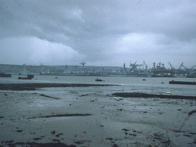 View of Devonport Dockyard from Torpoint: on a cold evening in January 1974.