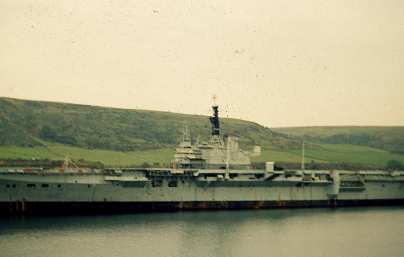 HMS Centaur at Cairn Ryan (Breakers' Yard), Stranraer. c.1972