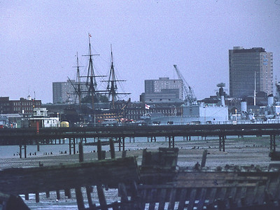 Telephoto View from Priddy's Hard towards Portsmouth Dockyard (HMS Victory, Tiger/Blake)