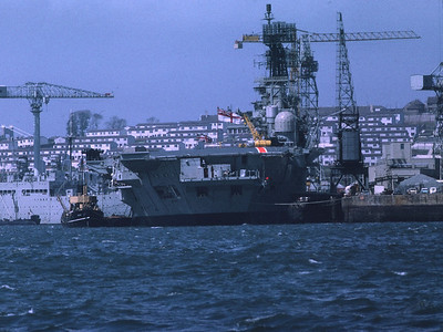 HMS Ark Royal: Devonport 1972 Also HMS Defiance, Submarine Depot Ship in Background