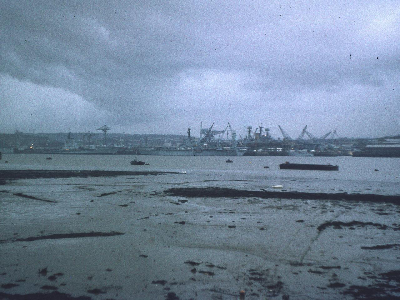 Devonport: Jan1974. Three carriers: Hermes and Bulwark alongside; Ark Royal in the basin.