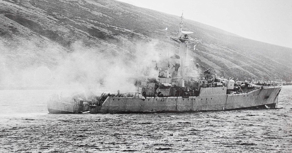 HMS Plymouth, immediately after being hit Falklands 1982
