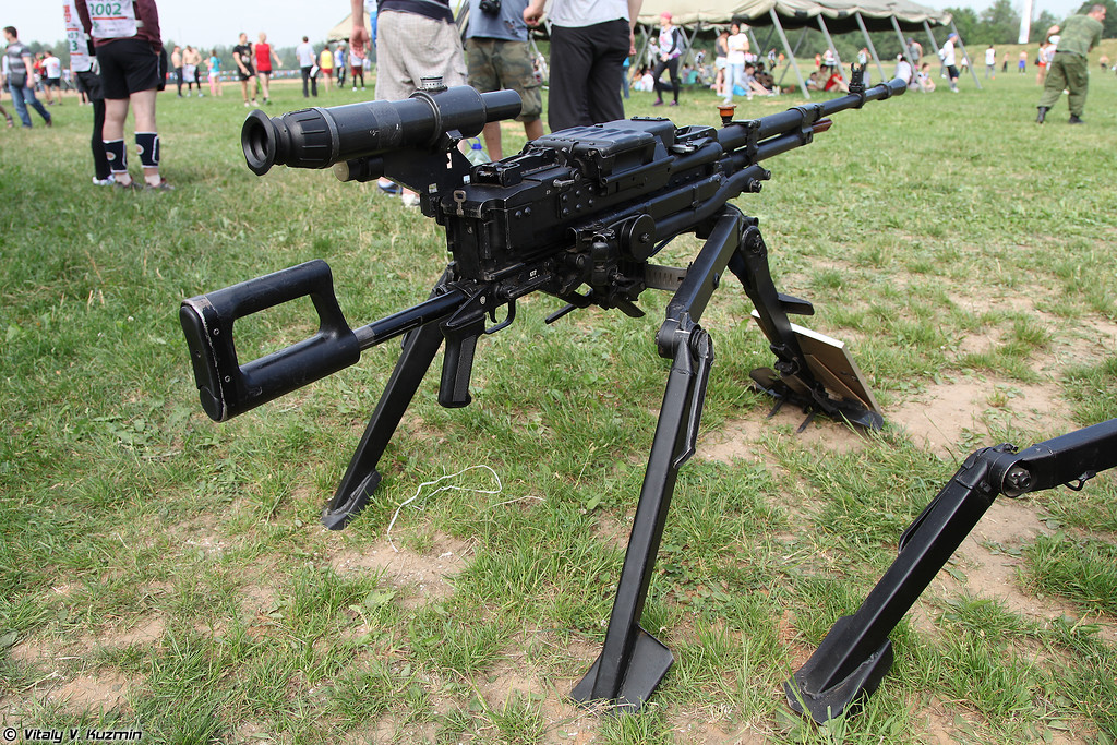 12,7-мм крупнокалиберный пулемет НСВ Утес на станке 6Т7 (12.7mm machine gun NSV on 6T7 mount)