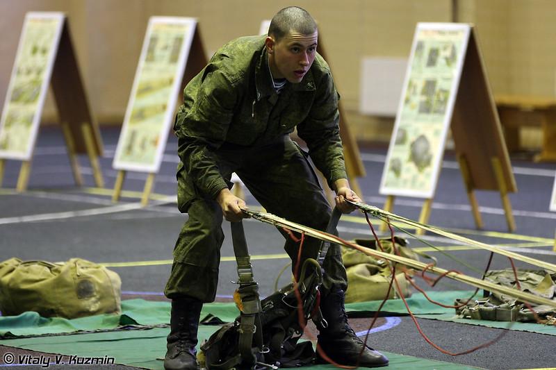 Укладка парашютов и последующая проверка правильности укладки (Airborne training)
