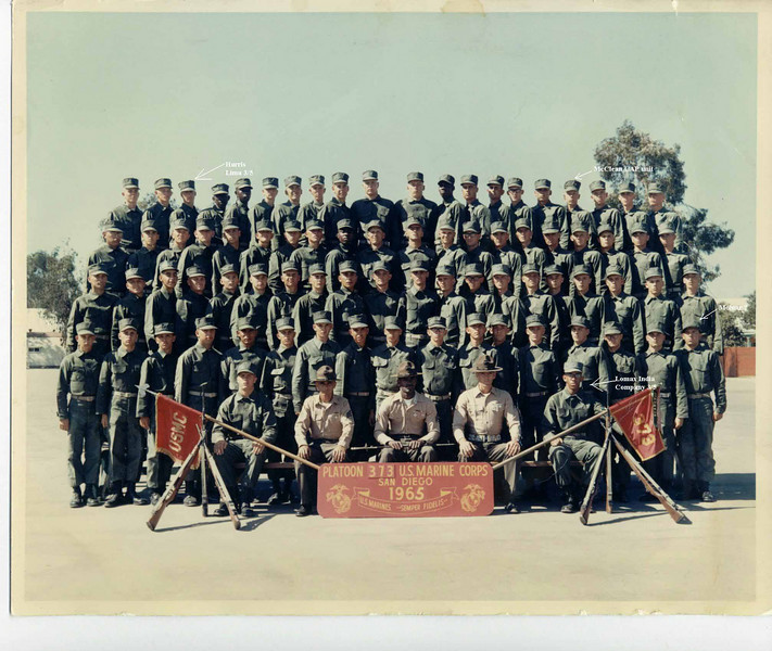 Boot Camp Platoon 373, San Diego, 1965.