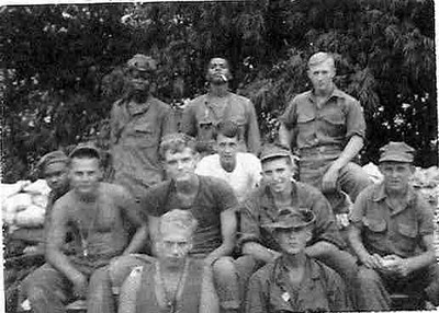 1968 Mortar Crew: Left to Right, front row: Curtis Eidson, Billy Bolton  Second row sitting: Bradford, Jack Miller, Mark Handley, Gary Callahan, Carl Blankenship, in the white T is Hervy Beckham<br /> Back row standing: Edwards, Johnson, B.J. Hilliard