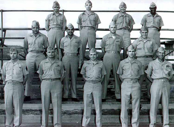 India HQ group in Okinawa. Top row r-l Cpl. Dupree, Cpl Jerome Czarnowski (Ski II)   Middle row on right is Zaidinski.  Bottom row is Fletcher, First Sgt Thorpe, Lt. Kopfler, Unknown, and Gunny Walters