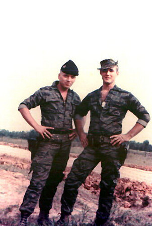Curtis Eidson, on left, with one of his best friends, Cpl. Billy Carroll Bolton, January 12, 1968.  Bolton was killed on January 30, on Operation Auburn.