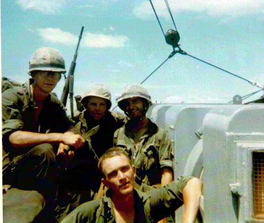 "From Dave Gurbal.  1966 BLT 3/5 aboard USS Pickaway, ""I"" Co.  From left to right, Cpl Bob Kessler, Pvt. Joe Holt, Pvt. Dave Gurbal and up front L/Cpl Bill Lacerte.  Semper Fi! Pvt. Gurbal"