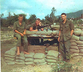 Larry Vaught's picture: Jake, Larry and Thelbert, north of Phu Gia in March or April of '68.