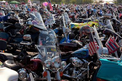 Rolling Thunder assembles at the Pentagon parking lot on the morning of May 30, 2010 on Memorial Day Weekend Thousands of motorcycles later ride through Washington in an annual demonstration seeking to improve veteran benefits and resolve POW/MIA issues.  Rolling Thunder has evolved to be not only a demonstration for the POW/MIA issue but also a demonstration of patriotism and respect for soldiers and veterans from all wars. (Photo by Jeff Malet)