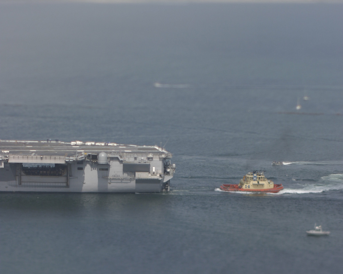 Tiny USS John C. Stennis with Tugboat, San Diego, May 2008