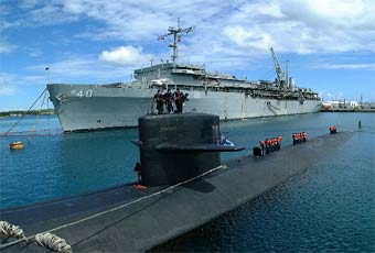 Submarine Tenders furnish maintenance and logistic support for nuclear attack submarines.