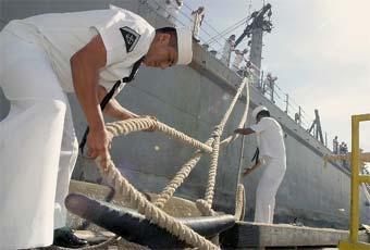 Docking a tank landing ship (LST).