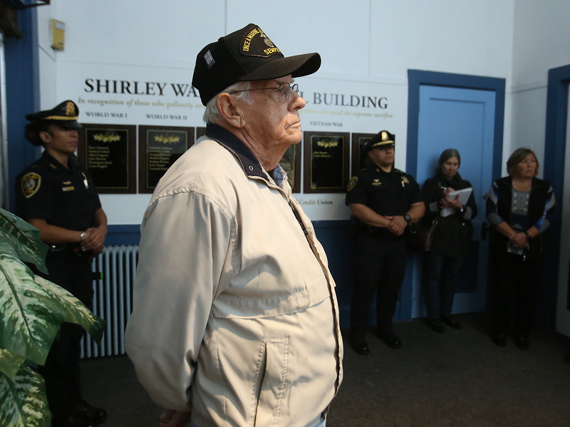 Dedication of plaques to Shirley war dead, at the War Memorial Building in Shirley. I.C. Federal Credit Union funded the plaques. Norman Albert, chairman of the Board of Trustees of the War Memorial. (SUN/Julia Malakie)