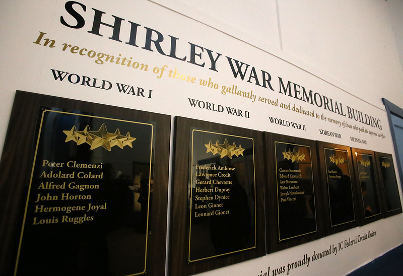 Dedication of plaques to Shirley war dead, at the War Memorial Building in Shirley. I.C. Federal Credit Union funded the plaques, which include an empty plaque in the unfortunate event of future casualties. (SUN/Julia Malakie)