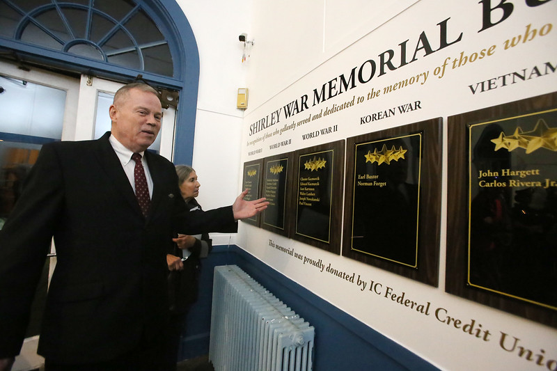 Chaplain Charles Church of Shirley, after dedication of plaques to Shirley war dead, at the War Memorial Building in Shirley. I.C. Federal Credit Union funded the plaques, which include an empty plaque in the unfortunate event of future casualties. (SUN/Julia Malakie)