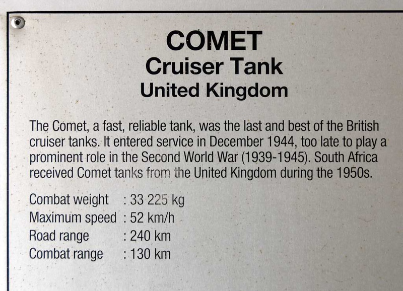 British Comet tank, South African National Museum of Military History, Johannesburg, 20 September 2018 2.