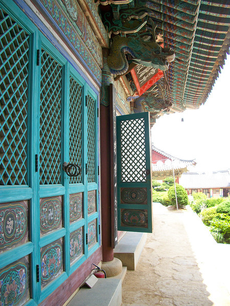 outside of the medicine buddha hall, one of the national treasures of South Korea built during the Joseon dynasty