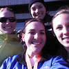 trying to stay warm in the sun after the event, with Kristin, Nicole and Candice.