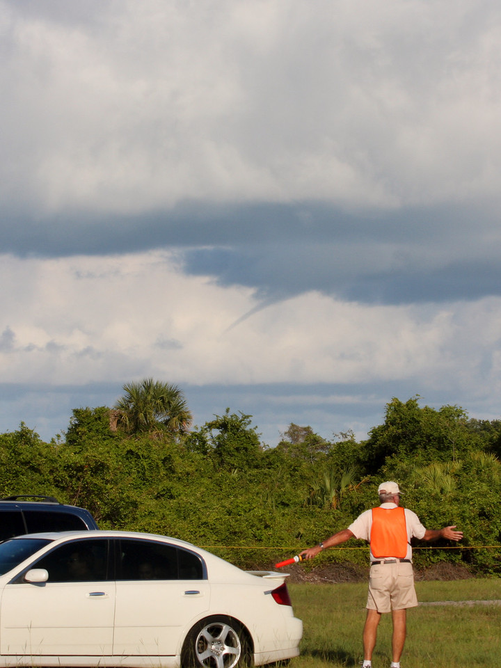 A small tornado rolls in from the Atlantic upon arrival