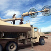Soldiers assigned to the 11th Brigade, 43rd Air Defense Artillery, Fort Bliss, Texas set up a Antenna Mast Group, which enables the Patriot missile batteries to communicate, in preparation for the tactical Patriot missile launch.  The live firing are a real time opportunity for units to demonstrate their skills during the world's largest joint service, multi-nation tactical air operations exercise.