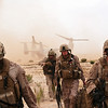 U.S. Marines with Combat Logistics Battalion (CLB) 8, 2nd Marine Logistics Group (Forward) arrive at the impact site with French soldiers to recover the wreckage of a French Mirage 2000 jet fighter aircraft northwest of Forward Operating Base Delaram in Nimroz province, Afghanistan, May 25, 2011. CLB-8 assisted the French forces in support of International Security Assistance Force operations. (DoD photo by Staff Sgt. Jeff Kaus, U.S. Marine Corps/Released)