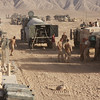 "British army ""Viking"" combat vehicles line up Sept. 2, 2008, to refuel at a rest point after a convoy through the Helmand Province of Afghanistan. The British army is tasked with delivering a turbine to the Kajaki Dam to supply the area with hydro-electric power. (U.S. Marine Corps photo by Lance Cpl. Chad J. Pulliam/Released)"