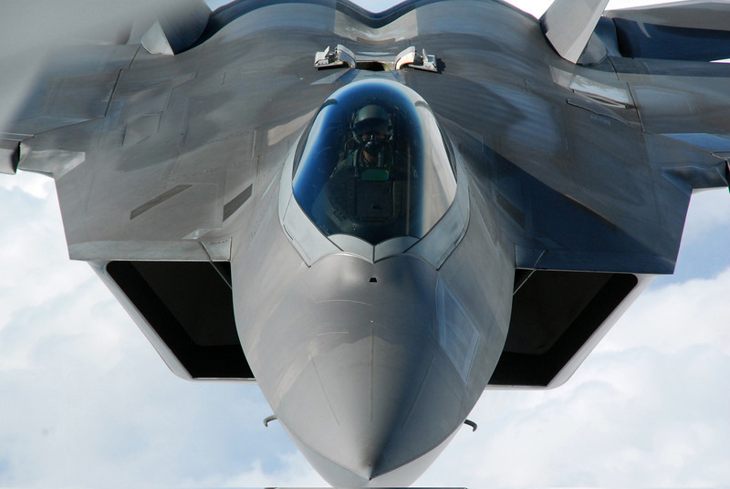 An F-22 Raptor pilot lines up his aircraft to be refueled by a KC-135 Stratotanker on March 31, 2011.  DoD photo by the U.S. Air Force.  (Released)