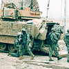 U.S. Army Soldiers, from Delta Company, 1st Battalion, 8th Infantry Regiment, load up inside their Bradley M2 Infantry Fighting Vehicle after conducting a cordon and search operation at Al Intisar, Mosul, Iraq, April 29, 2008, during Operation Iraqi Freedom. (U.S. Army photo by Pfc. Sarah De Boise) (Released)