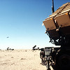 MIM-104 Patriot tactical air defense missile launchers of Battery E, 3rd Battalion, 43rd Air Defense Artillery, line the desert horizon during Operation DESERT SHIELD.