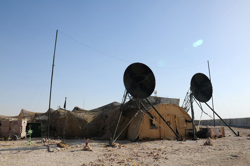 An AN/TRC-170 tropospheric scatter microwave radio terminal site supports U.S. Army MIM-104 Patriot missile batteries at an undisclosed location in Southwest Asia Jan. 30, 2010. The AN/TRC-170 is operated by the U.S. Air Force 379th Expeditionary Communications Squadron. (U.S. Air Force photo by Senior Airman Kasey Zickmund/Released)
