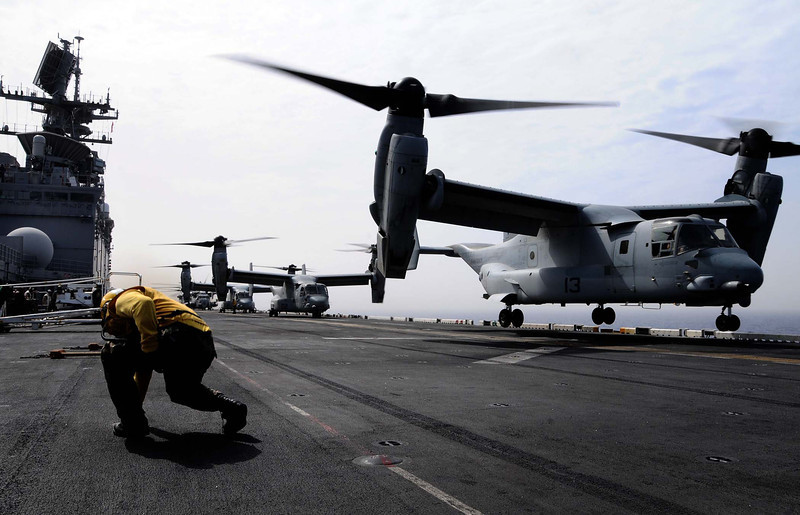 An MV-22 Osprey aircraft takes off from the flight deck of the amphibious assault ship USS Bataan (LHD 5) under way in the Mediterranean Sea June 4, 2011. Bataan and its amphibious ready group are supporting maritime security operations and theater security cooperation efforts in the U.S. 6th Fleet?s area of responsibility. (U.S. Navy photo by Mass Communication Specialist 2nd Class Julio Rivera/Released)