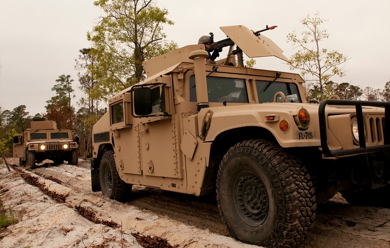 U.S. Airmen with the 125th Fighter Wing's security force perform convoy operations during a field training exercise at Camp Blanding Joint Training Center near Starke, Fla., March 29, 2011. (U.S. Air Force photo by Master Sgt. Shelley Gill/Released)