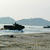 Malaysian army and U.S. Marine Corps amphibious assault vehicles land ashore during a joint amphibious assault exercise in support of Cooperation Afloat Readiness and Training (CARAT) Malaysia 2011 in Resang, Malaysia, June 13, 2011. CARAT is a series of bilateral exercises held annually in Southeast Asia to strengthen relationships and enhance force readiness. (U.S. Navy photo by Mass Communication Specialist 2nd Class Jimmie Crockett /Released)