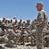 U.S. Army Col. Sean Jenkins, the commander of the 101st Airborne Division's 4th Brigade Combat Team, addresses Soldiers during an end of tour ceremony for the 4th Brigade Special Troops Battalion, at Forward Operating Base Rushmore, in Paktika province, Afghanistan, June 7, 2011. The battalion is in its final weeks of a yearlong deployment.  (U.S. Army photo by Spc. George Hunt/Released)