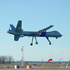 The U.S. Customs and Border Protection's first MQ-9 Predator B unmanned aerial vehicle to be stationed along the northern border of the United States lands at Grand Forks Air Force Base, N.D., Dec. 6, 2008.  The vehicle will be maintained at the base and is slated to begin operational flights as early as January 2009. The vehicle will be used to enhance security along the border between the United States and Canada. (DoD photo by Senior Master Sgt. David H. Lipp/Released)