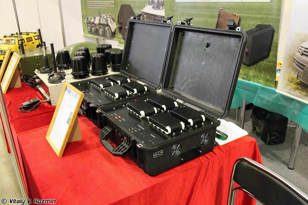 Блокиратор ПЕЛЕНА-8У. Изделие предназначено для защиты от радиоуправляемых взрывных устройств. Применяется в автомобильном и носимом варианте, состоит из двух передатчиков, смонтированных в кейсах. (PELENA-8U jammer)